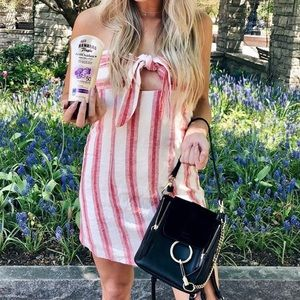 Striped Strapless Tie Dress